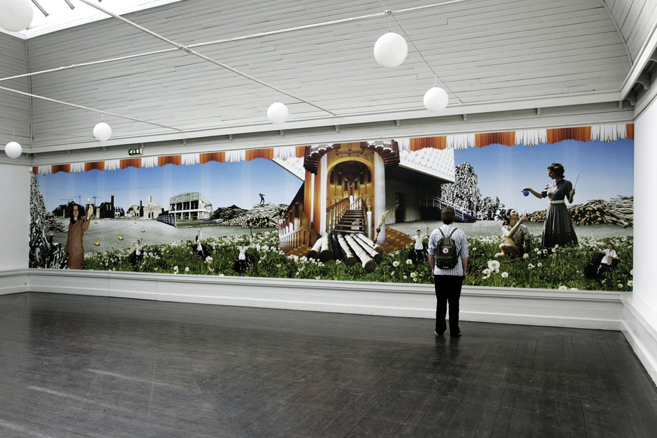 J&K, Everything Else Is Just Another Friend You Haven't Met Yet – Scenorama, photo wallpaper, 1265x254 cm, installation view at Den Frie Udstillingsbygning, Copenhagen, 2008, photo: K. Thye