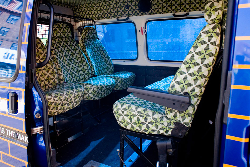 J&K, Babylon Shuttle Bus, sculpture, detail: interior fabric design, 2006, photo: Sid Ned