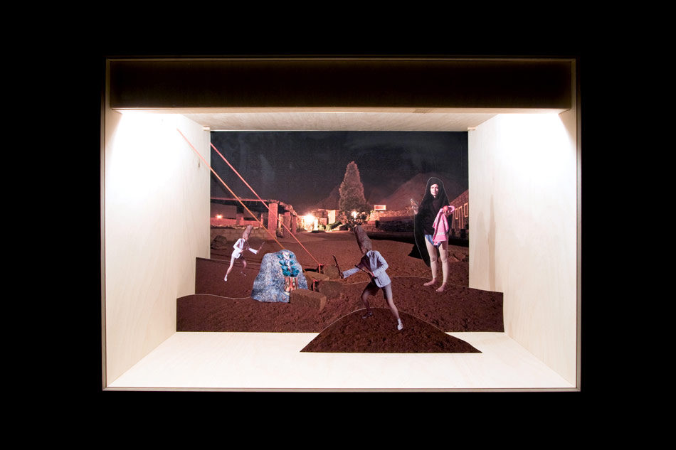 J&K, Egyptomaniacs, Receiving the word of (the only) God, The Prophet founds the 4th big monotheistic religion at the foot of Mount Moses in Sinai Desert, diorama (pigment print on paper, wood, light, carton, glass), 62x44x42 cm, 2006/2007, photo: T. Zipf