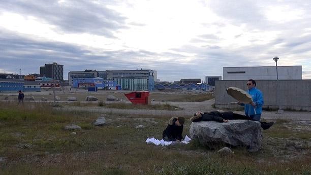 J&K, Dark Ice, performance with Leif Immanuelsen, city centre, Nuuk, 2014, video still: J&K