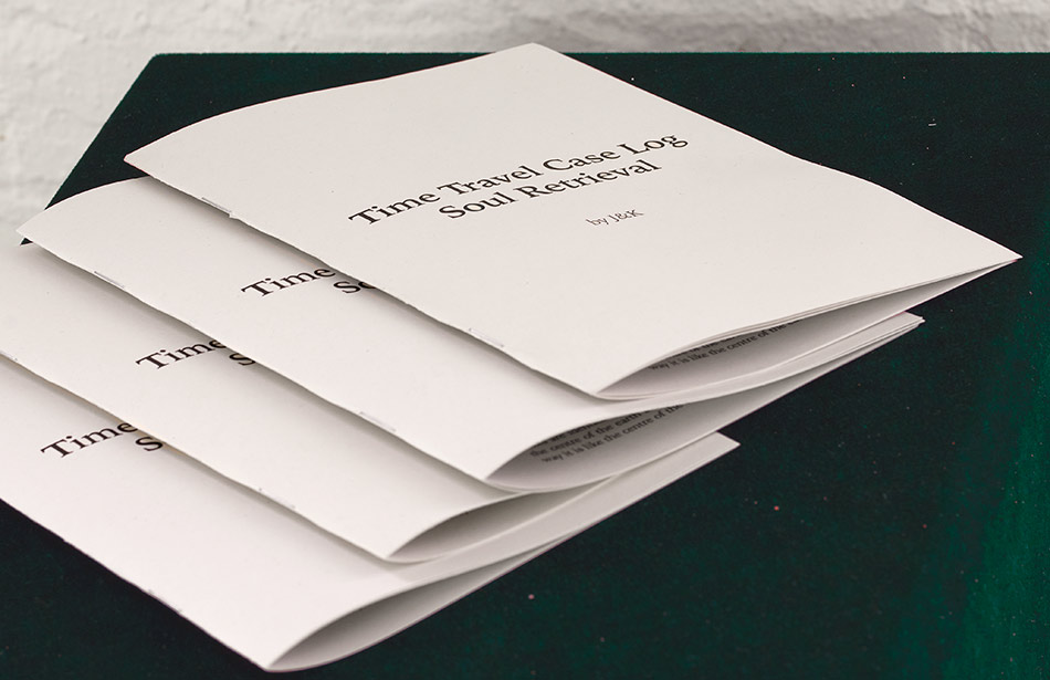 J&K, Time Travel Case Log, printed text, 2017, photo: M.K. Jakobsen